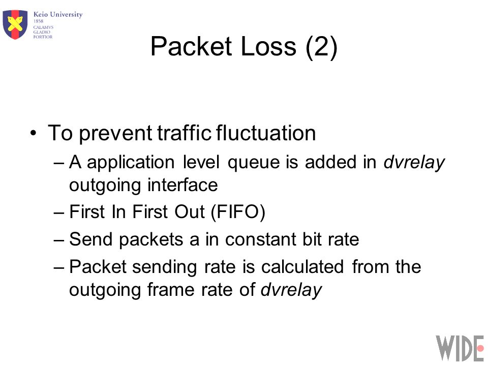 Packet Loss (2) To prevent traffic fluctuation –A application level queue is added in dvrelay outgoing interface –First In First Out (FIFO) –Send packets a in constant bit rate –Packet sending rate is calculated from the outgoing frame rate of dvrelay