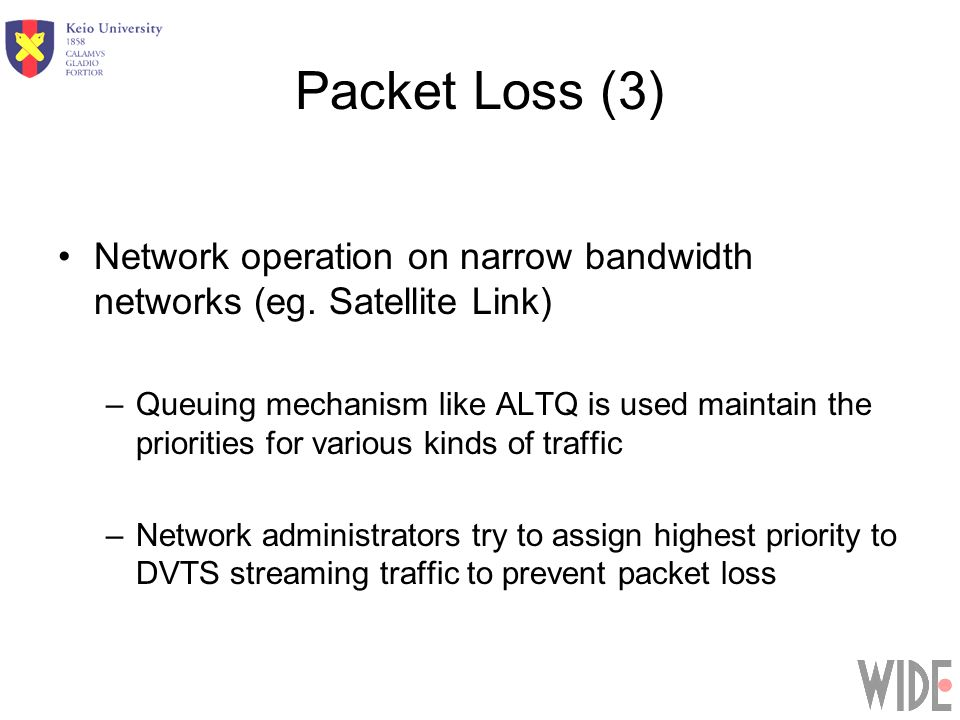 Packet Loss (3) Network operation on narrow bandwidth networks (eg.