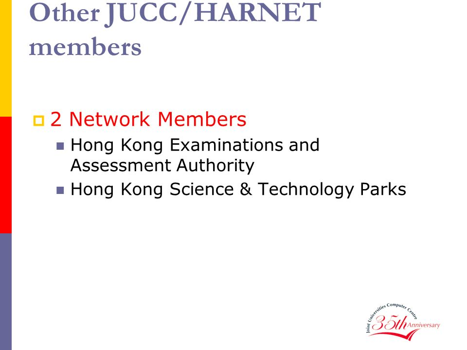 Other JUCC/HARNET members 2 Network Members Hong Kong Examinations and Assessment Authority Hong Kong Science & Technology Parks