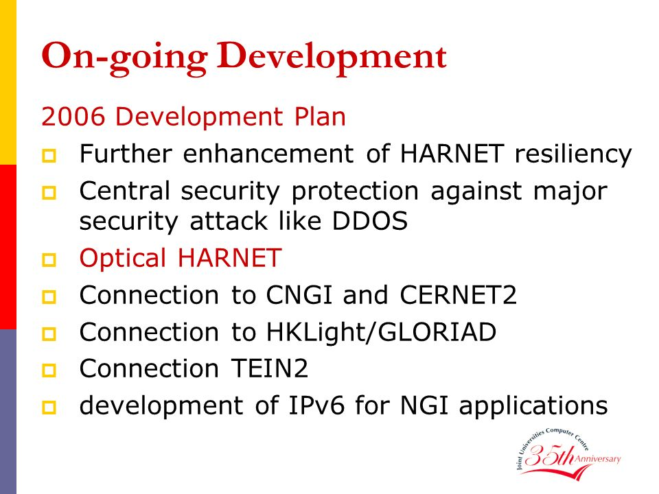 On-going Development 2006 Development Plan Further enhancement of HARNET resiliency Central security protection against major security attack like DDO