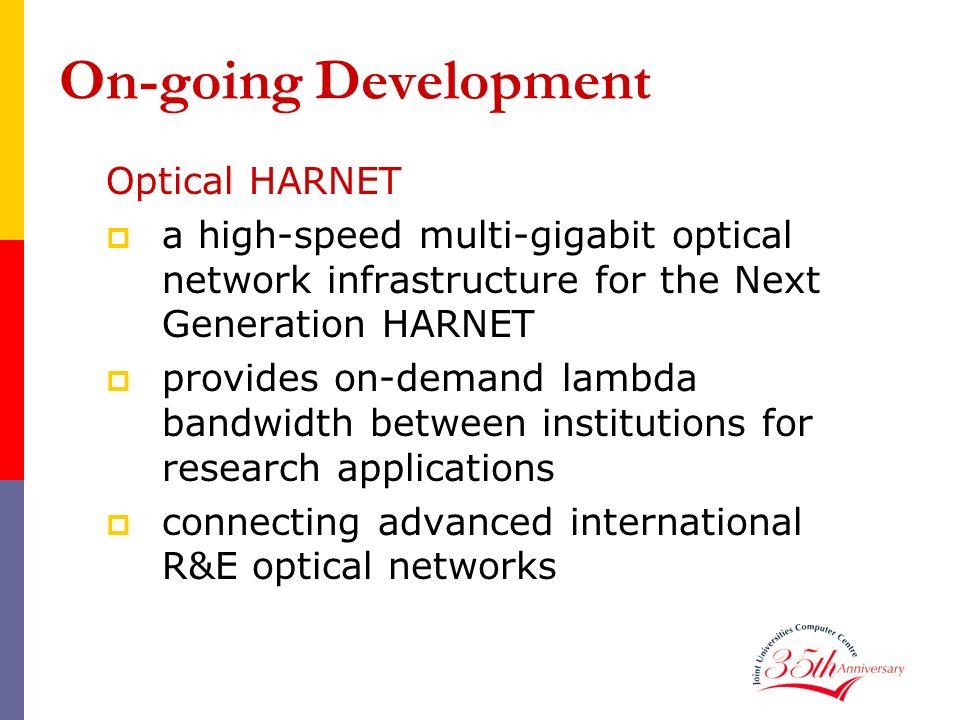 On-going Development Optical HARNET a high-speed multi-gigabit optical network infrastructure for the Next Generation HARNET provides on-demand lambda