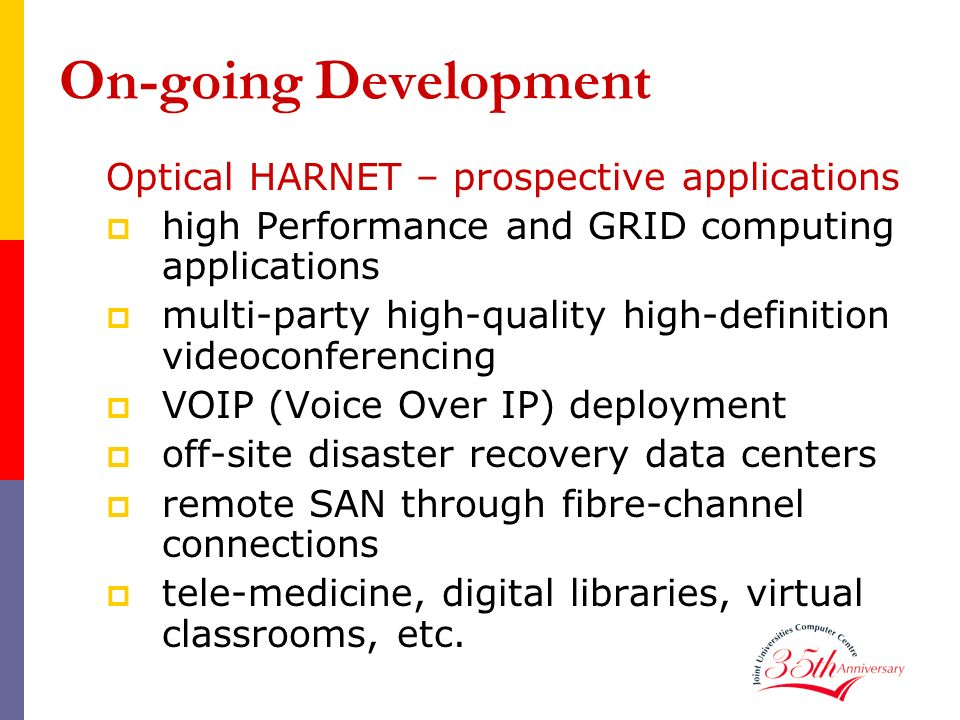 On-going Development Optical HARNET – prospective applications high Performance and GRID computing applications multi-party high-quality high-definiti