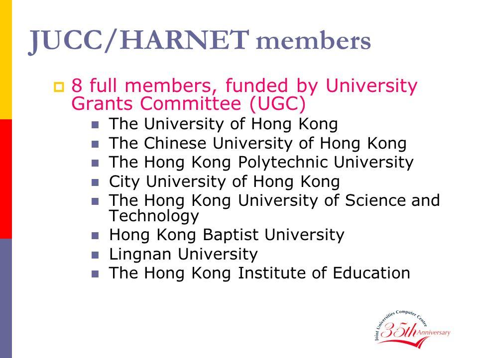 JUCC/HARNET members 8 full members, funded by University Grants Committee (UGC) The University of Hong Kong The Chinese University of Hong Kong The Ho