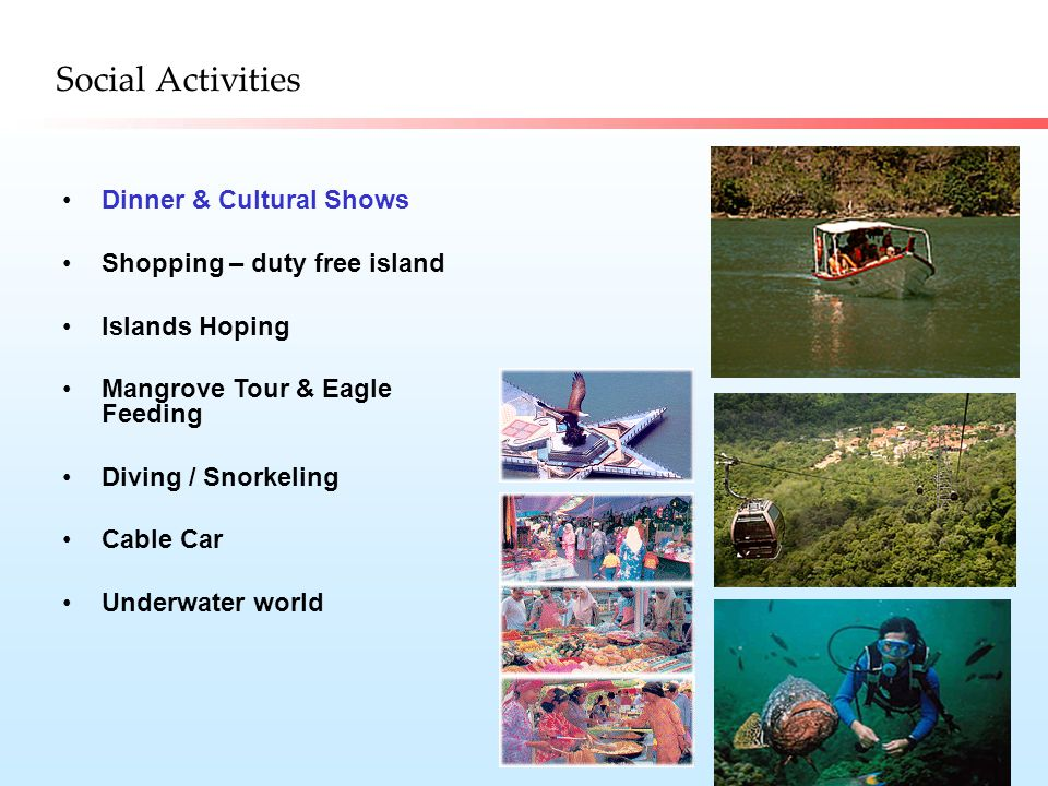 Social Activities Dinner & Cultural Shows Shopping – duty free island Islands Hoping Mangrove Tour & Eagle Feeding Diving / Snorkeling Cable Car Underwater world