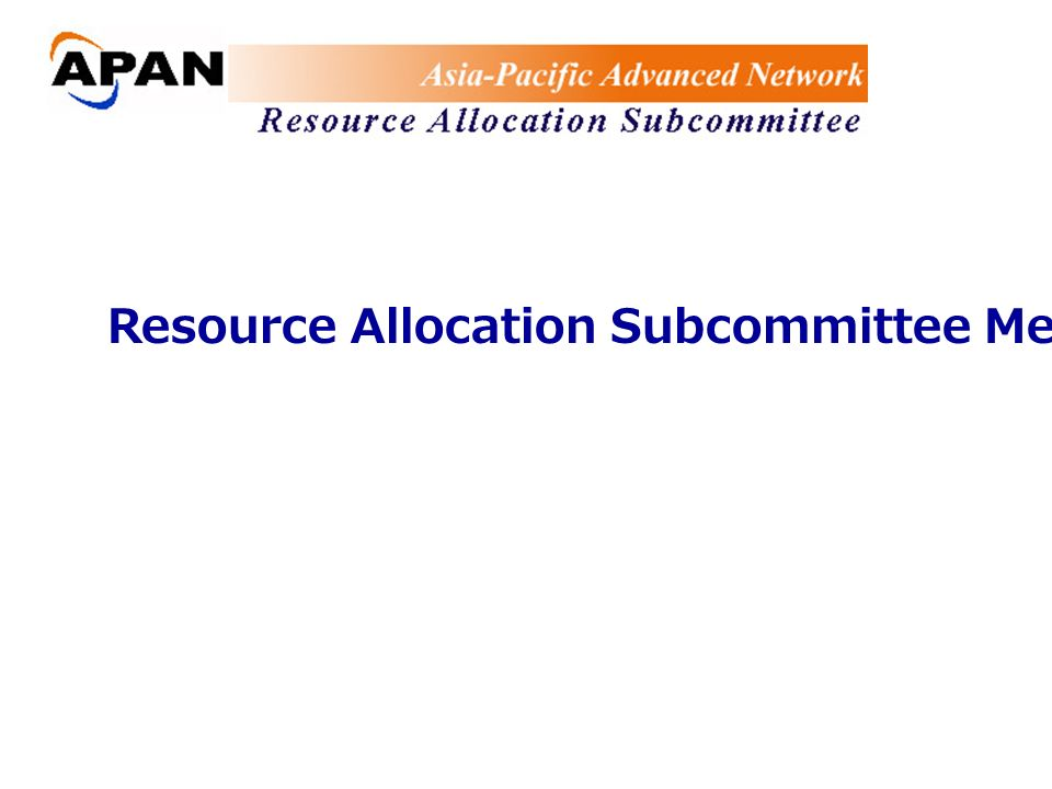 Resource Allocation Subcommittee Meeting