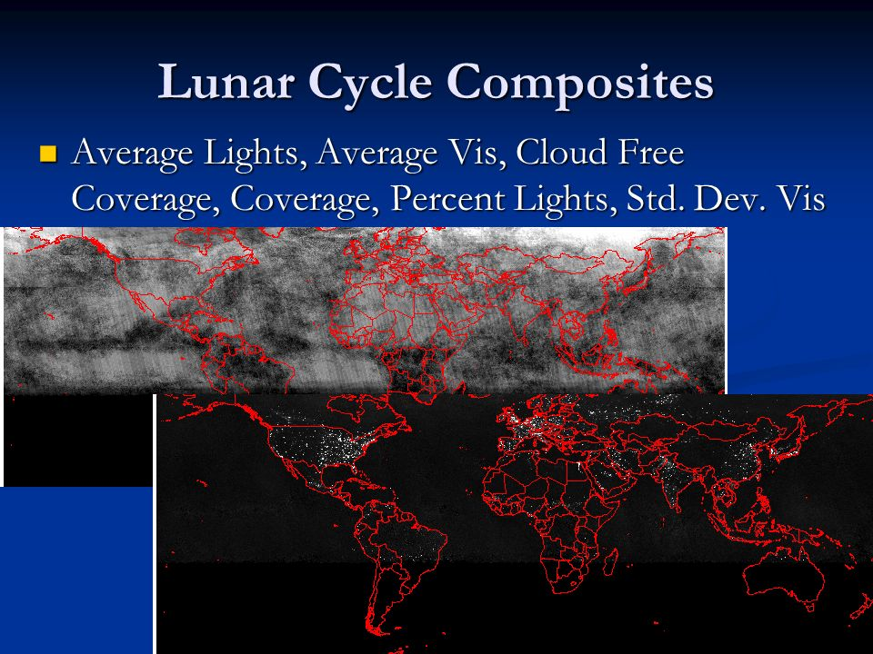 Lunar Cycle Composites Average Lights, Average Vis, Cloud Free Coverage, Coverage, Percent Lights, Std.