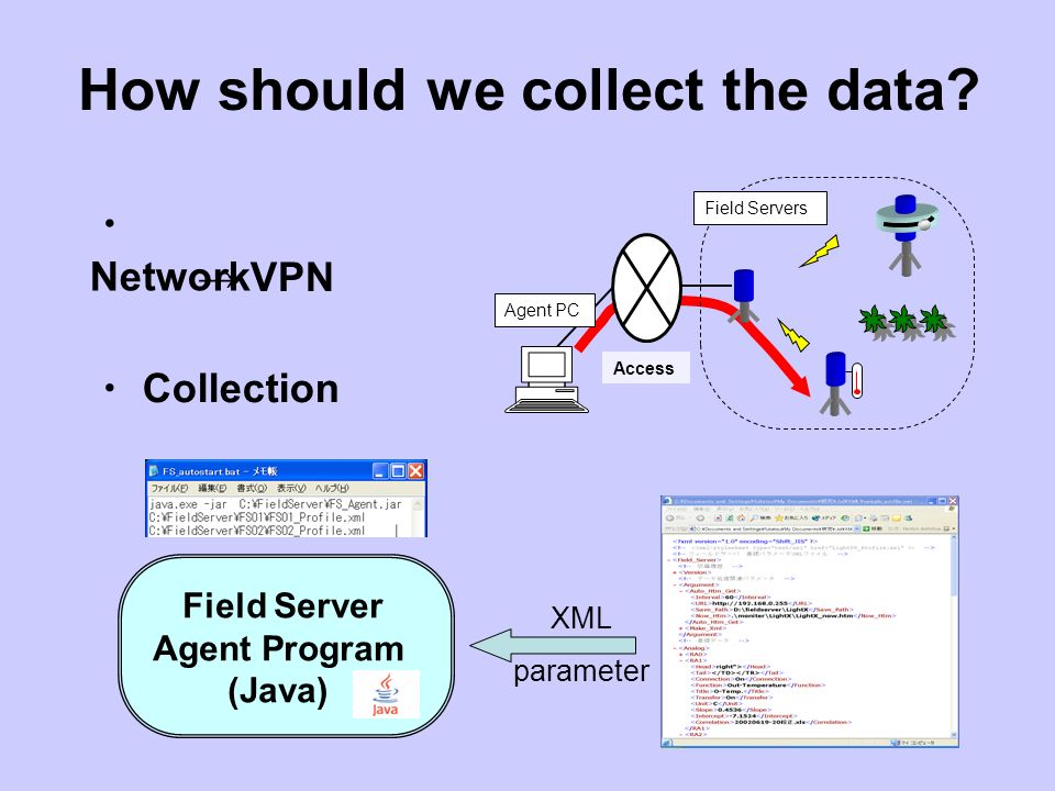 How should we collect the data? Network Field Servers Access Agent PC VPN Collection Field Server Agent Program (Java) XML parameter