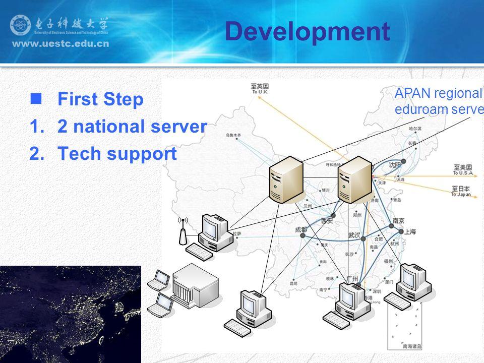 Development First Step 1.2 national server 2.Tech support APAN regional eduroam server