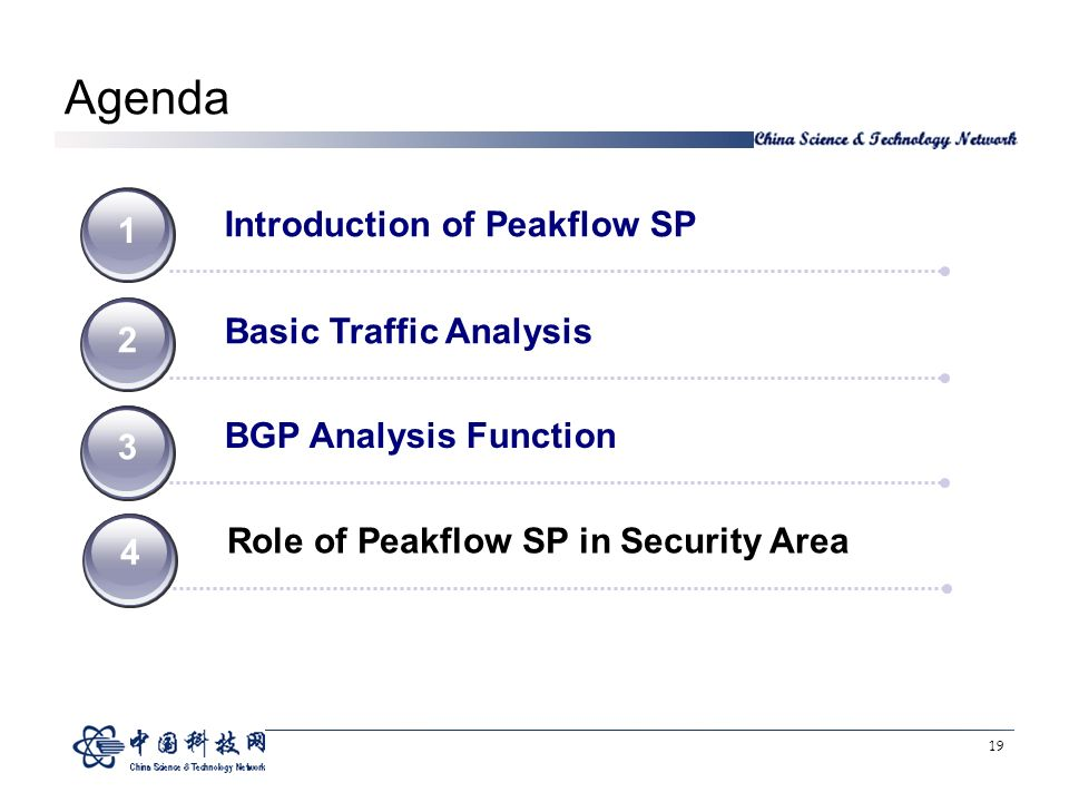 19 Agenda Introduction of Peakflow SP 1 Basic Traffic Analysis 2 BGP Analysis Function Role of Peakflow SP in Security Area 4 4