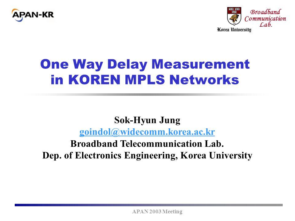 APAN 2003 Meeting Broadband Communication Lab. One Way Delay Measurement in KOREN MPLS Networks Sok-Hyun Jung goindol@widecomm.korea.ac.kr Broadband T