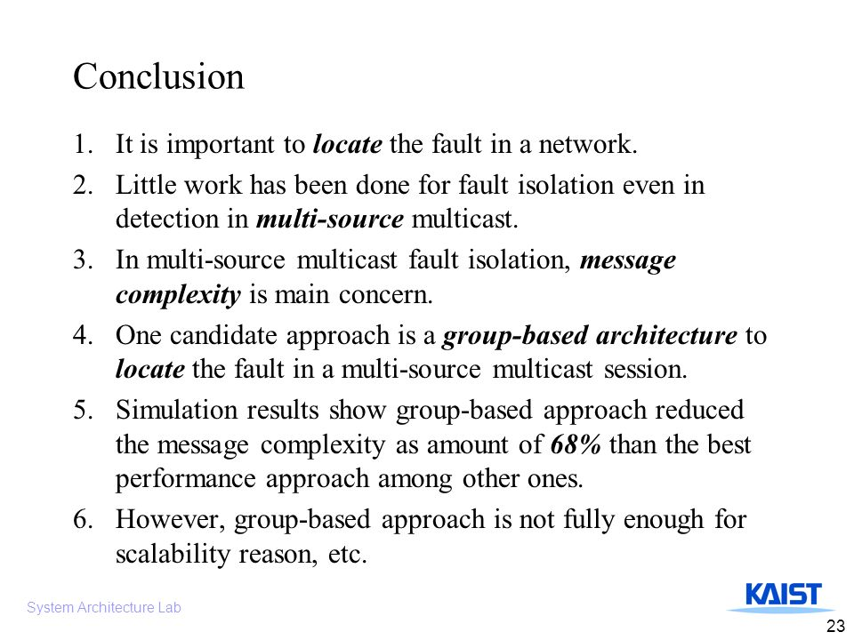 System Architecture Lab 23 Conclusion 1.It is important to locate the fault in a network.