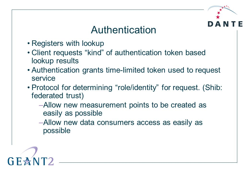 Authentication Registers with lookup Client requests kind of authentication token based lookup results Authentication grants time-limited token used t