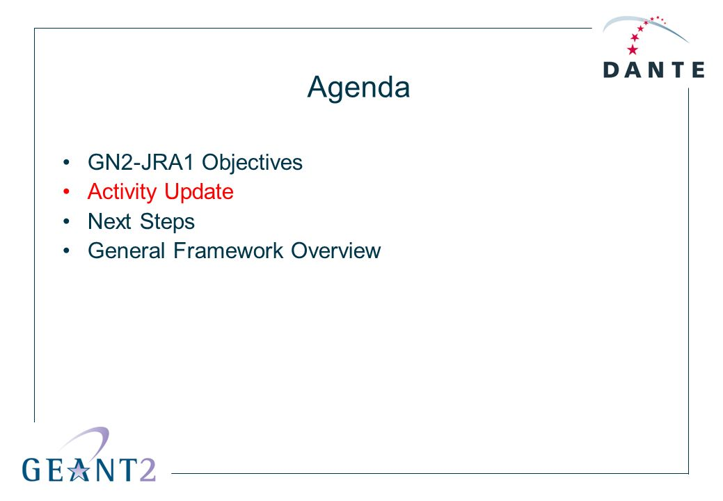 Agenda GN2-JRA1 Objectives Activity Update Next Steps General Framework Overview