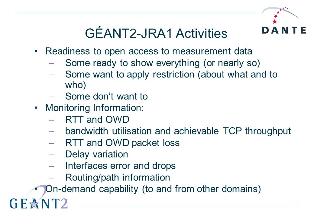 GÉANT2-JRA1 Activities Readiness to open access to measurement data –Some ready to show everything (or nearly so) –Some want to apply restriction (abo