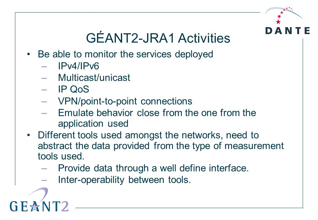 GÉANT2-JRA1 Activities Be able to monitor the services deployed –IPv4/IPv6 –Multicast/unicast –IP QoS –VPN/point-to-point connections –Emulate behavio