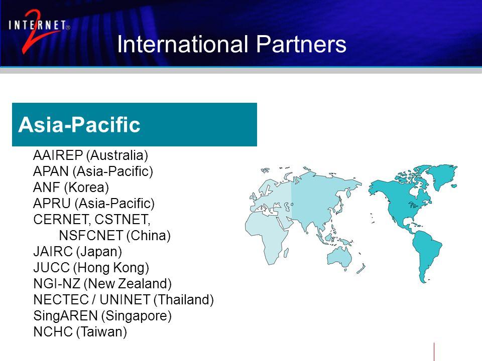 Asia-Pacific AAIREP (Australia) APAN (Asia-Pacific) ANF (Korea) APRU (Asia-Pacific) CERNET, CSTNET, NSFCNET (China) JAIRC (Japan) JUCC (Hong Kong) NGI-NZ (New Zealand) NECTEC / UNINET (Thailand) SingAREN (Singapore) NCHC (Taiwan) International Partners