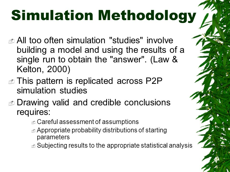 Simulation Methodology All too often simulation studies involve building a model and using the results of a single run to obtain the answer .