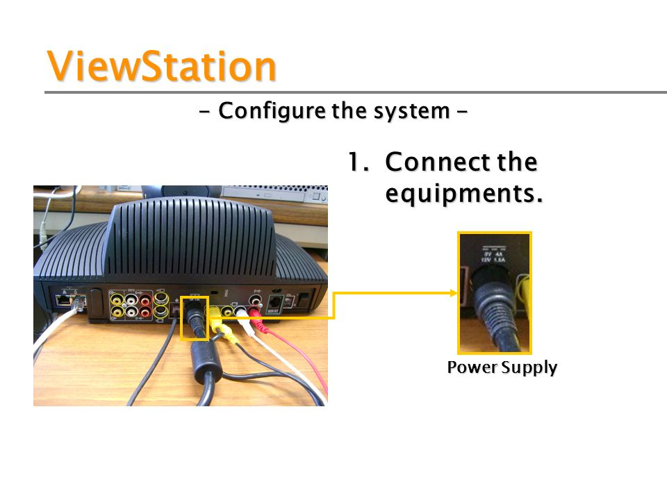 ViewStation - Configure the system - 1. Connect the equipments. Power Supply
