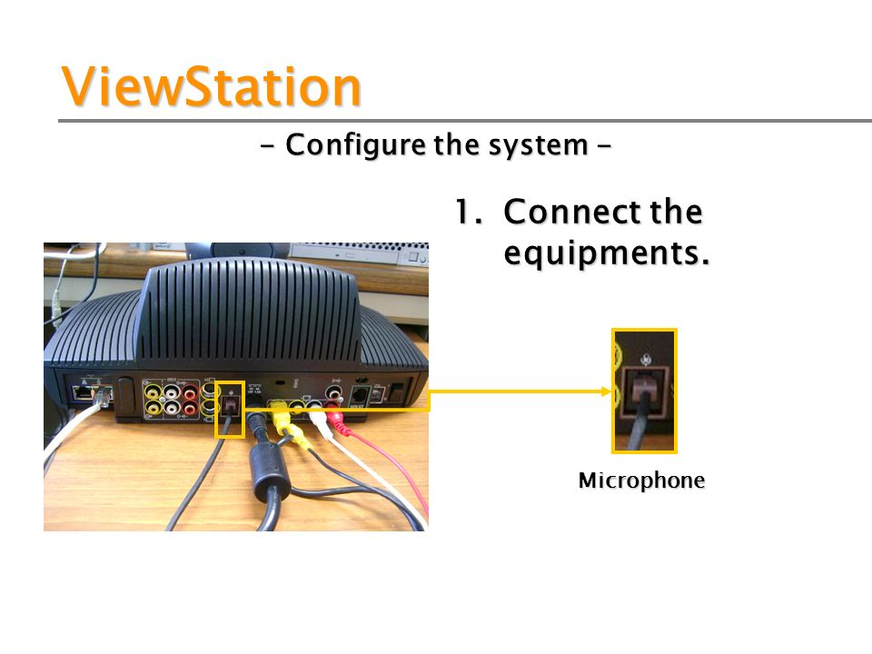 ViewStation - Configure the system - 1. Connect the equipments. Microphone