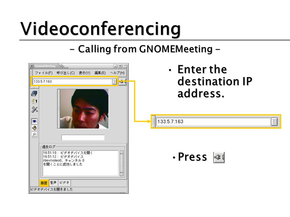 Videoconferencing Enter the destination IP address. - Calling from GNOMEMeeting - PressPress