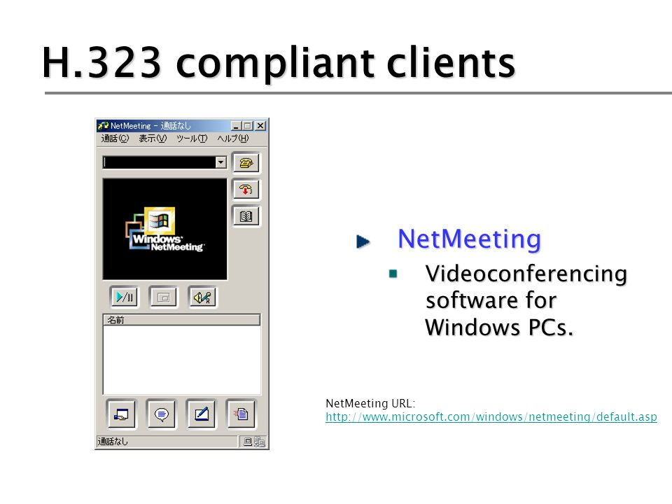 H.323 compliant clients NetMeeting Videoconferencing software for Windows PCs.