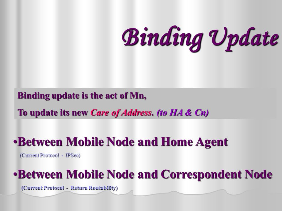 Mobile IPv6 Terms Used Mobile Node -a node which travels from one to another network Home Agent - Router in the Home network Correspondent Node - Node which Mn communicating with Home-of Address – Mns IP Address in Home Network Care-of Address - Mns IP Address in Foreign Network Binding Update - What is binding Update