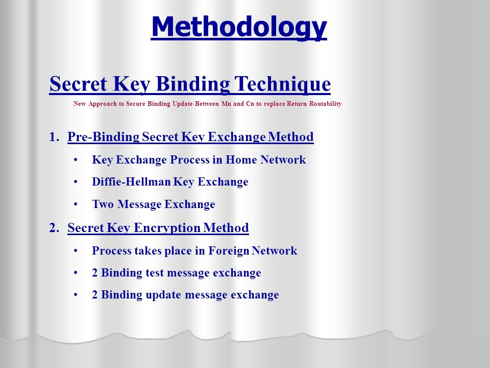 Methodology Secret Key Binding Technique New Approach to Secure Binding Update Between Mn and Cn to replace Return Routability 1.Pre-Binding Secret Key Exchange Method Key Exchange Process in Home Network Diffie-Hellman Key Exchange Two Message Exchange 2.Secret Key Encryption Method Process takes place in Foreign Network 2 Binding test message exchange 2 Binding update message exchange