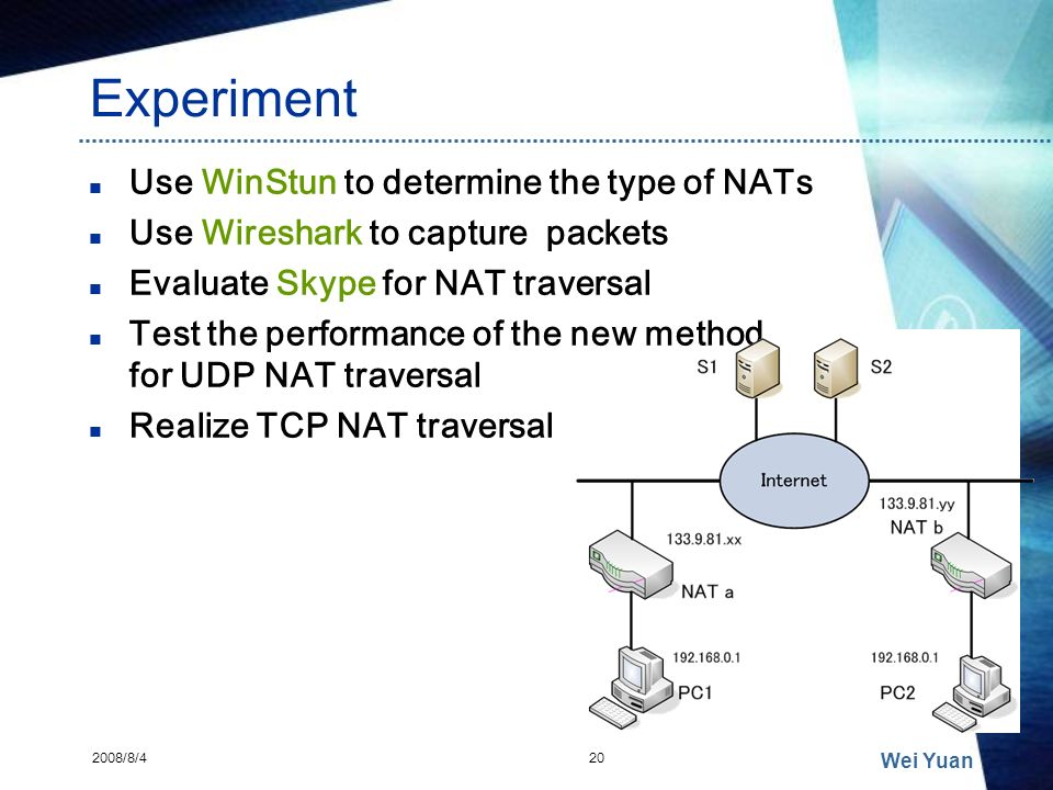 Experiment Use WinStun to determine the type of NATs Use Wireshark to capture packets Evaluate Skype for NAT traversal Test the performance of the new