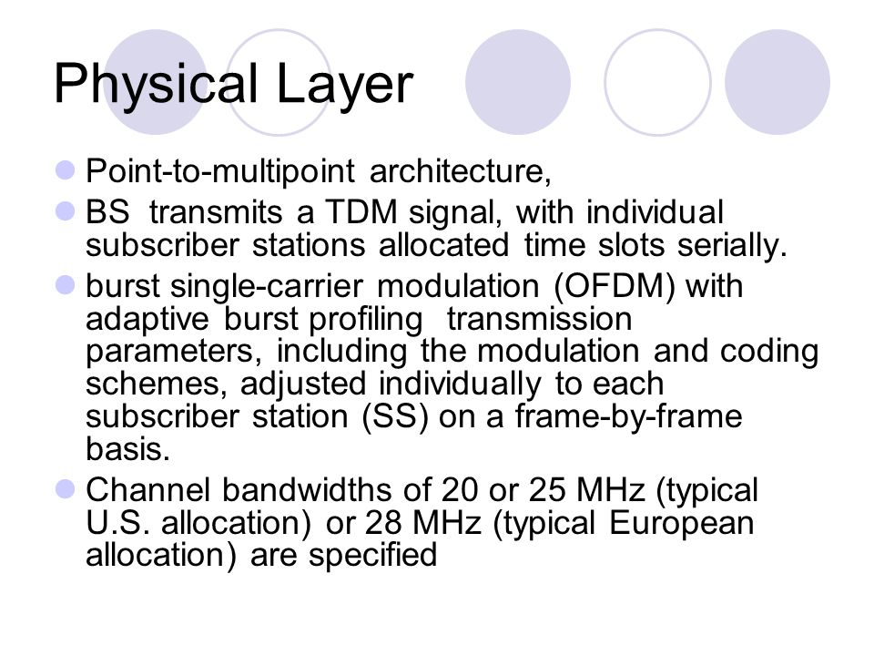 Physical Layer Point-to-multipoint architecture, BS transmits a TDM signal, with individual subscriber stations allocated time slots serially. burst s