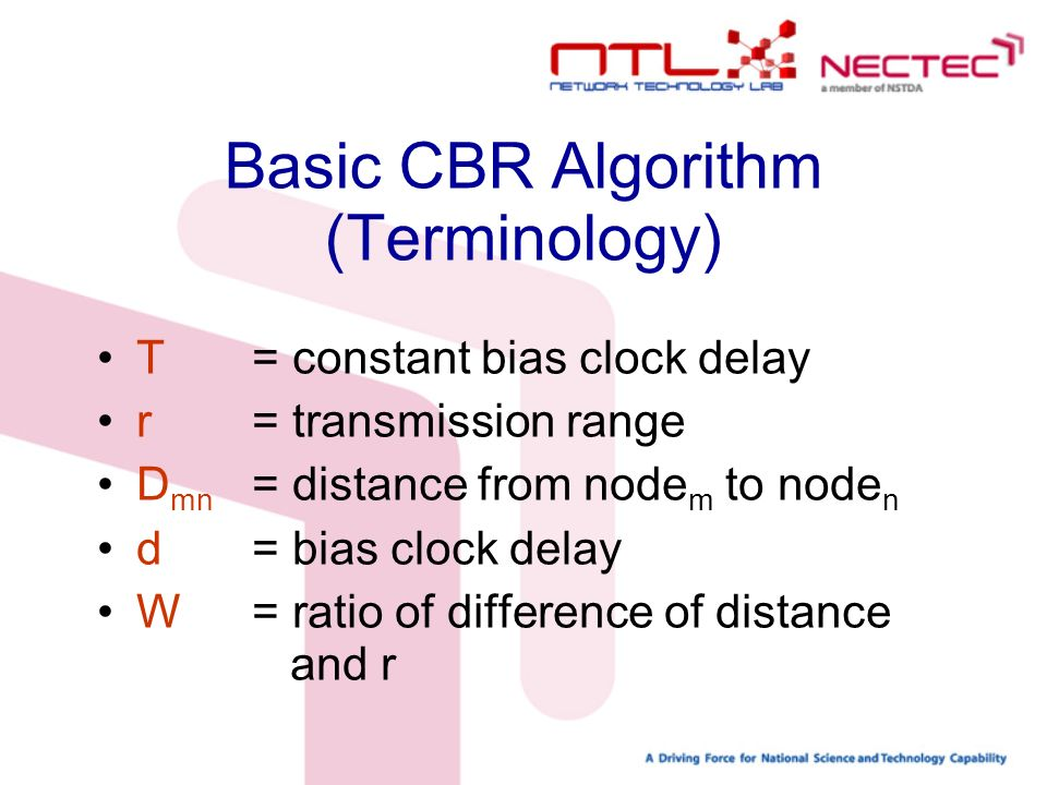 Basic CBR Algorithm (Terminology) T = constant bias clock delay r = transmission range D mn = distance from node m to node n d = bias clock delay W = ratio of difference of distance and r