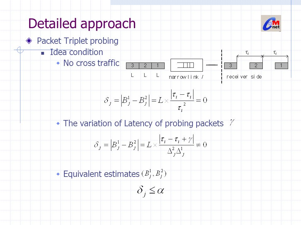 Detailed approach Packet Triplet probing Idea condition No cross traffic The variation of Latency of probing packets Equivalent estimates
