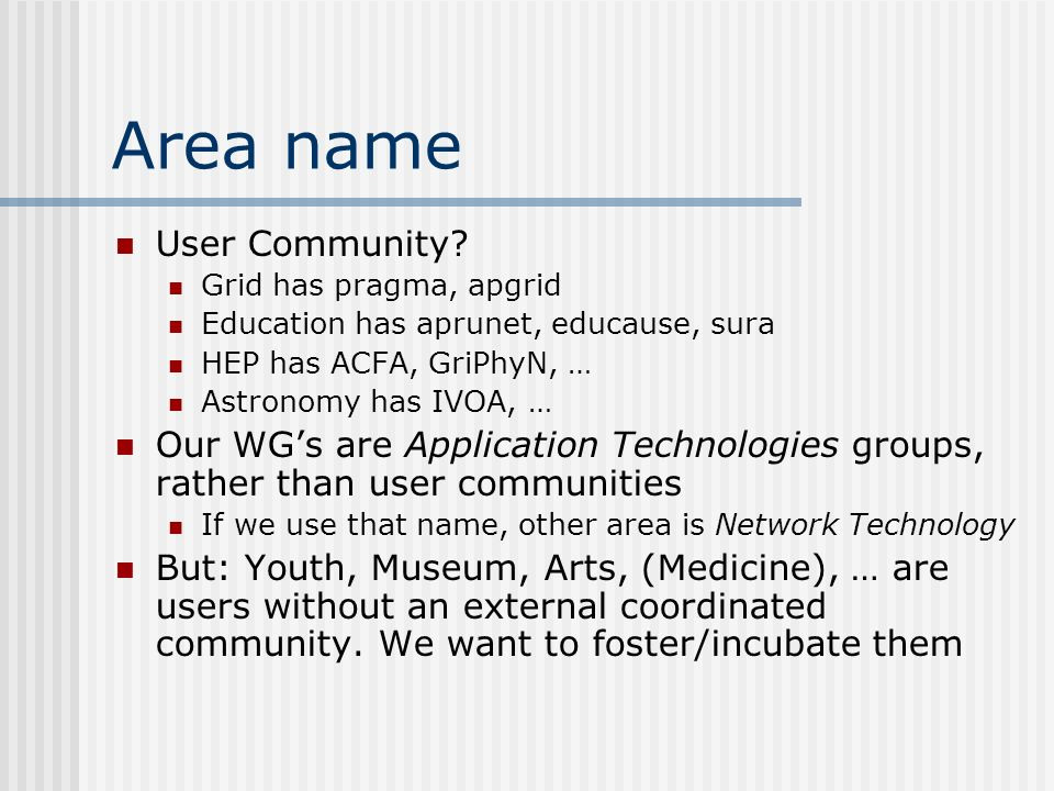 Area name User Community.