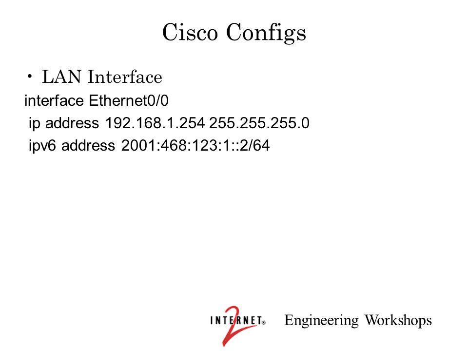 Engineering Workshops Cisco Configs LAN Interface interface Ethernet0/0 ip address 192.168.1.254 255.255.255.0 ipv6 address 2001:468:123:1::2/64