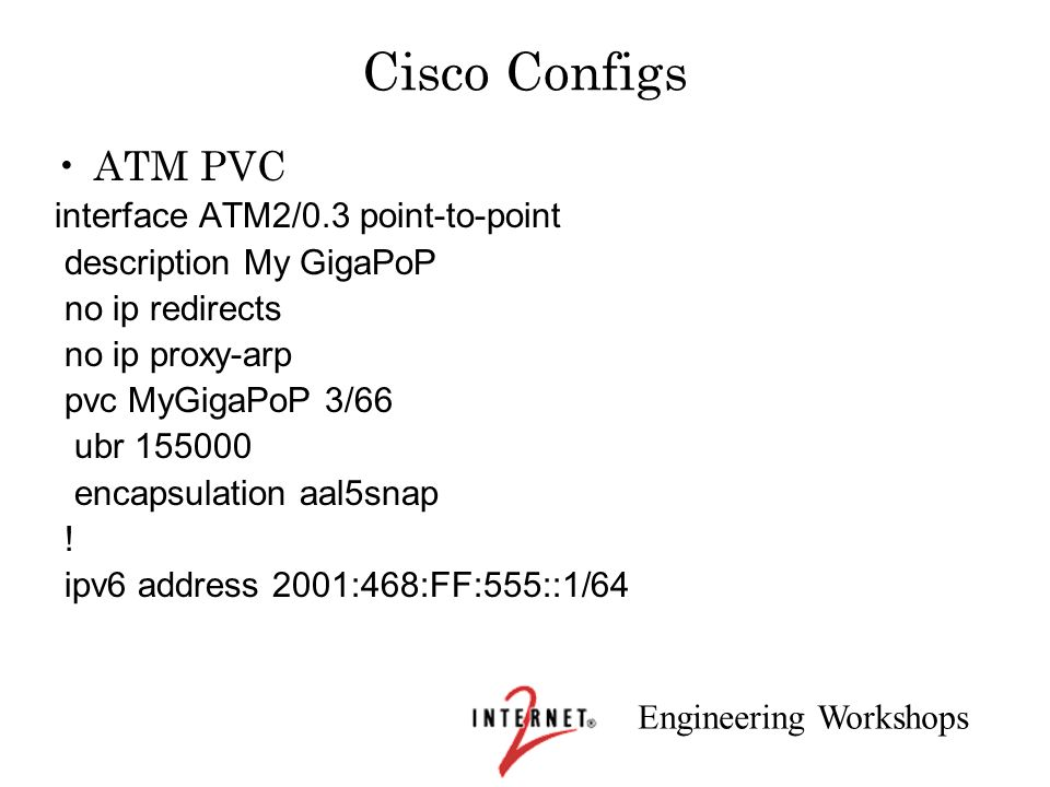Engineering Workshops Cisco Configs ATM PVC interface ATM2/0.3 point-to-point description My GigaPoP no ip redirects no ip proxy-arp pvc MyGigaPoP 3/6