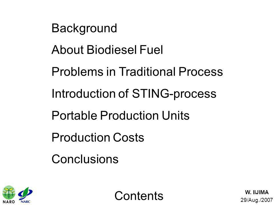 Contents W. IIJIMA 29/Aug./2007 Background About Biodiesel Fuel Problems in Traditional Process Introduction of STING-process Portable Production Unit