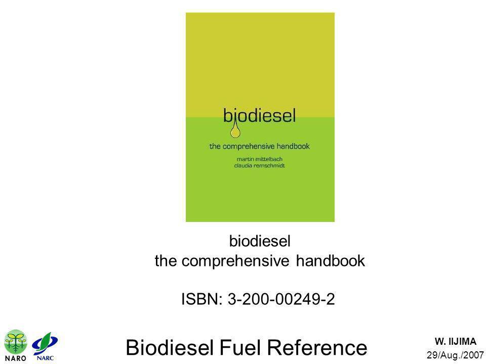 W. IIJIMA 29/Aug./2007 Biodiesel Fuel Reference biodiesel the comprehensive handbook ISBN: 3-200-00249-2