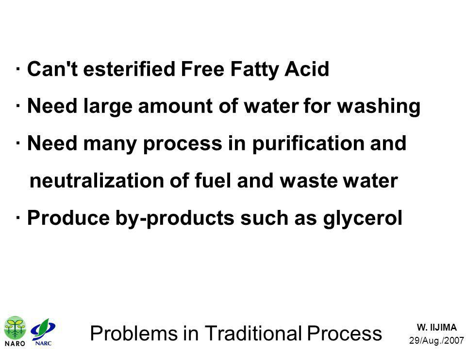 W. IIJIMA 29/Aug./2007 Problems in Traditional Process · Can't esterified Free Fatty Acid · Need large amount of water for washing · Need many process