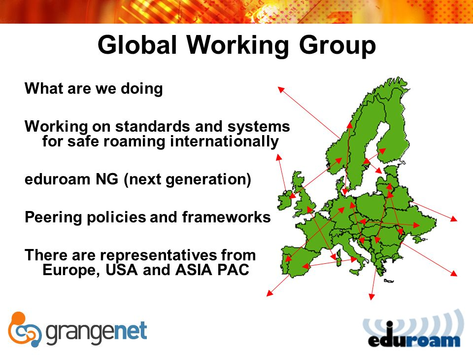 Global Working Group What are we doing Working on standards and systems for safe roaming internationally eduroam NG (next generation) Peering policies and frameworks There are representatives from Europe, USA and ASIA PAC