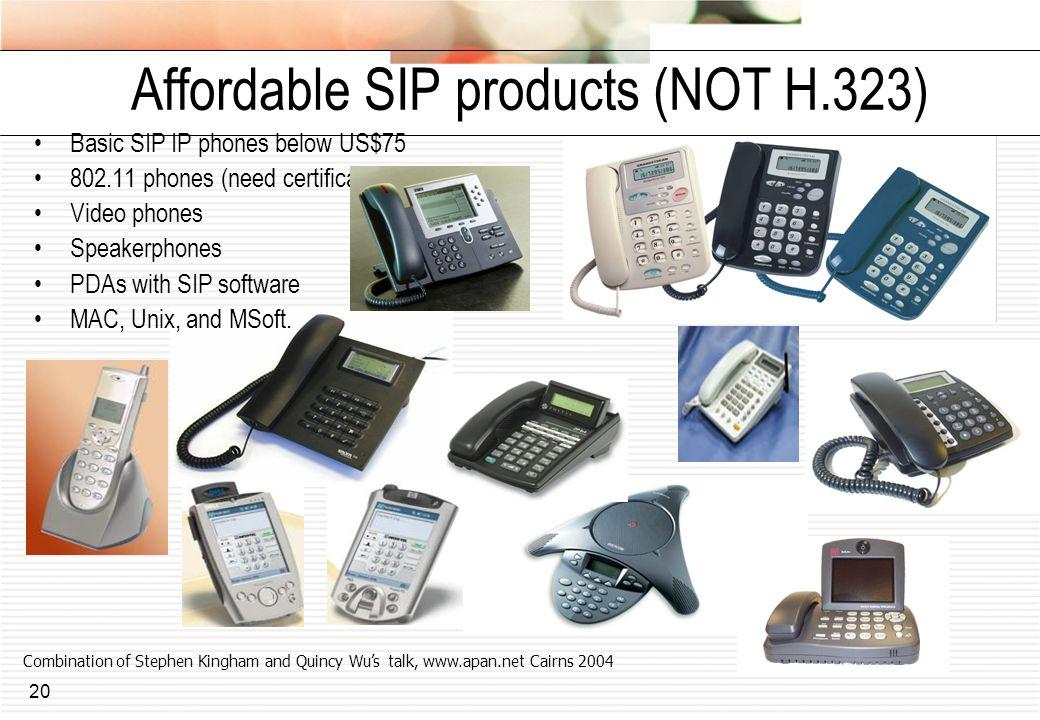 20 Affordable SIP products (NOT H.323) Basic SIP IP phones below US$75 802.11 phones (need certificate support) Video phones Speakerphones PDAs with S