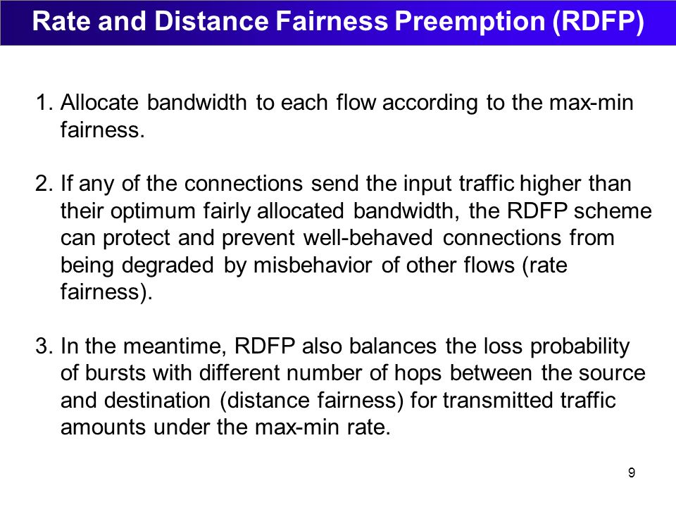 9 Rate and Distance Fairness Preemption (RDFP) 1.Allocate bandwidth to each flow according to the max-min fairness.