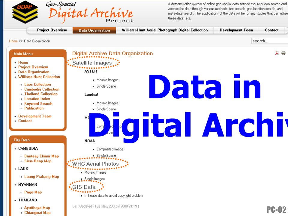 Data in Digital Archive PC-02