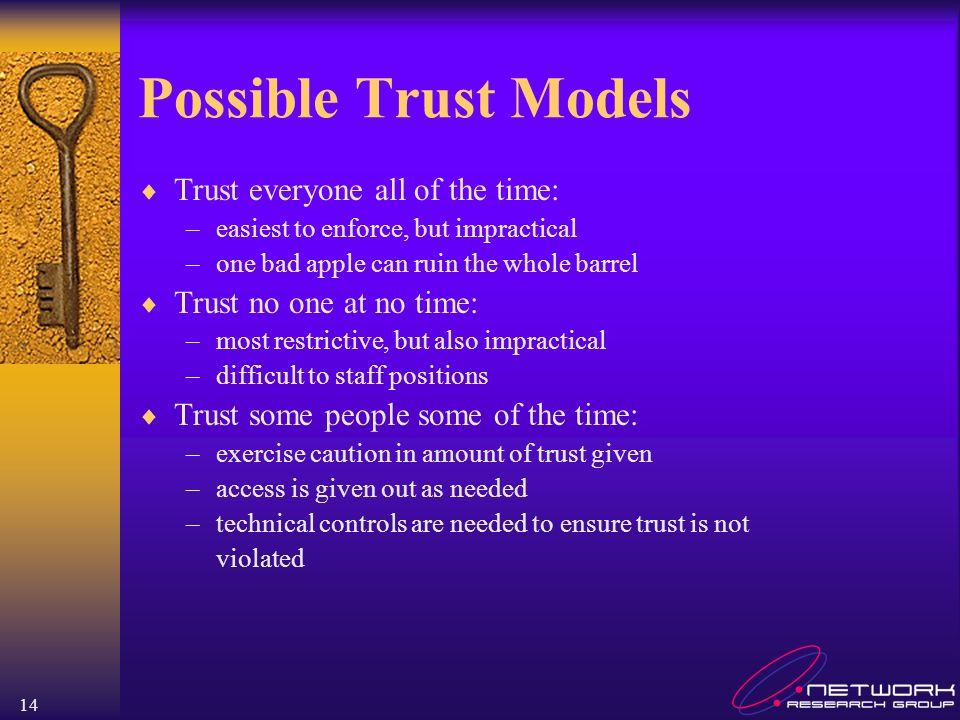 14 Possible Trust Models Trust everyone all of the time: –easiest to enforce, but impractical –one bad apple can ruin the whole barrel Trust no one at