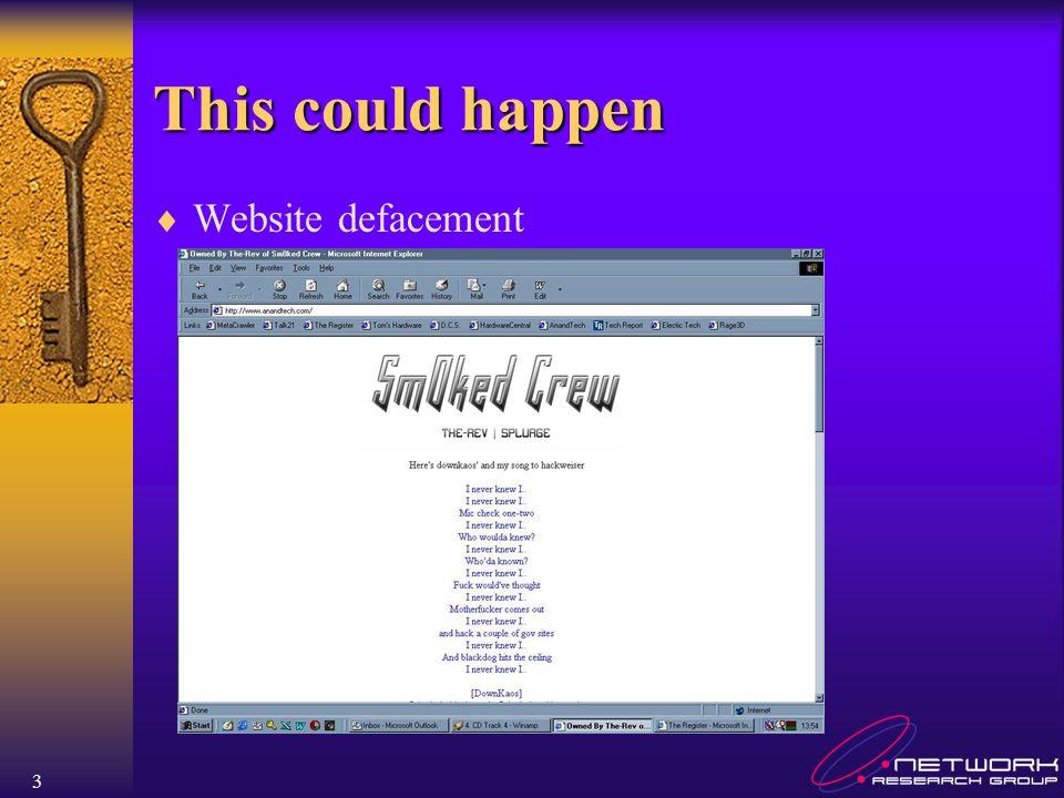 3 This could happen Website defacement