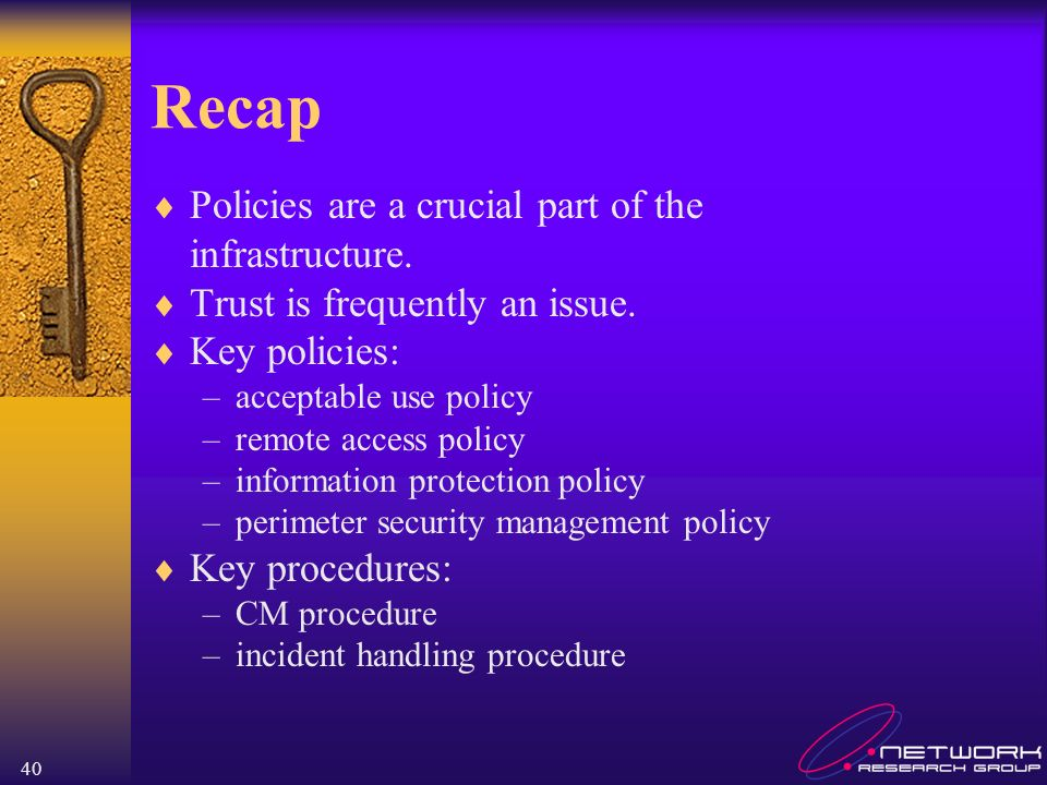 40 Recap Policies are a crucial part of the infrastructure.