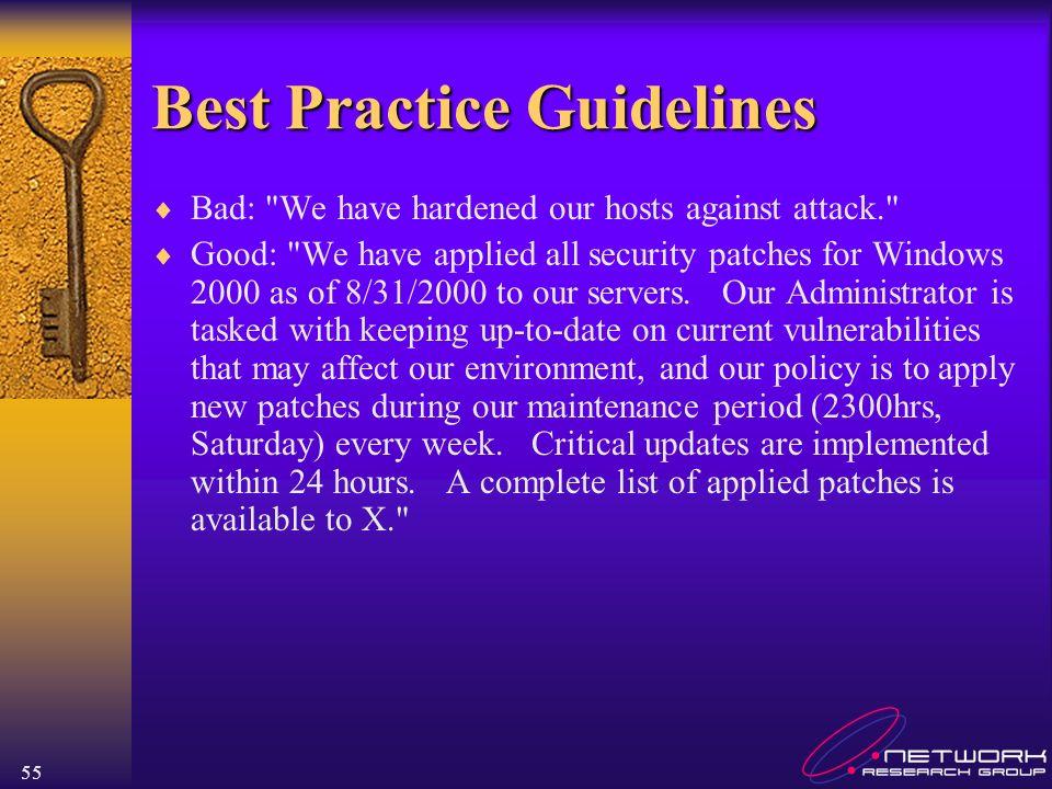 55 Best Practice Guidelines Bad: