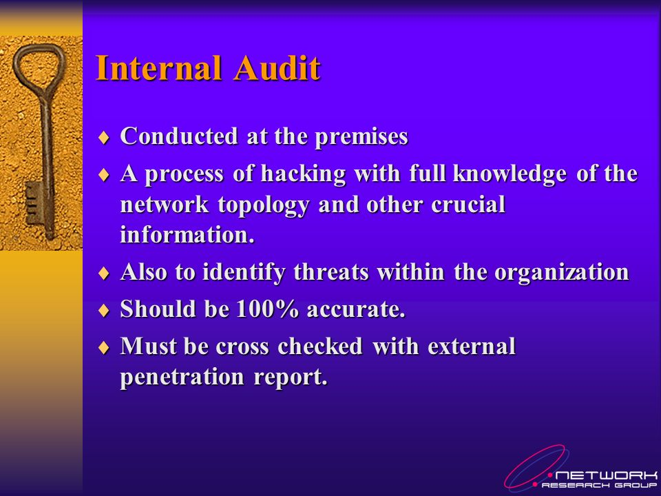 Internal Audit Conducted at the premises Conducted at the premises A process of hacking with full knowledge of the network topology and other crucial information.