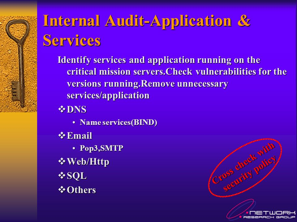 Internal Audit-Application & Services Identify services and application running on the critical mission servers.Check vulnerabilities for the versions running.Remove unnecessary services/application DNS DNS Name services(BIND)Name services(BIND) Email Email Pop3,SMTPPop3,SMTP Web/Http Web/Http SQL SQL Others Others Cross check with security policy