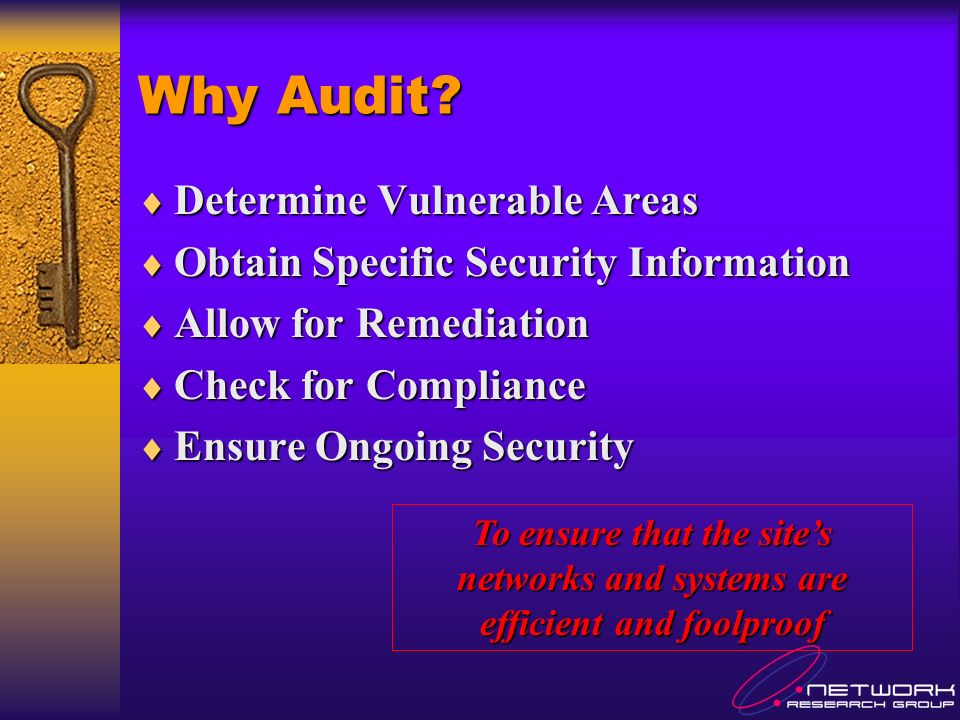Internal Audit- Environment & Physical Security Locked / combination / card swipe doors Locked / combination / card swipe doors Temperature / humidity controls Temperature / humidity controls Neat and orderly computing rooms Neat and orderly computing rooms Sensitive data or papers laying around.