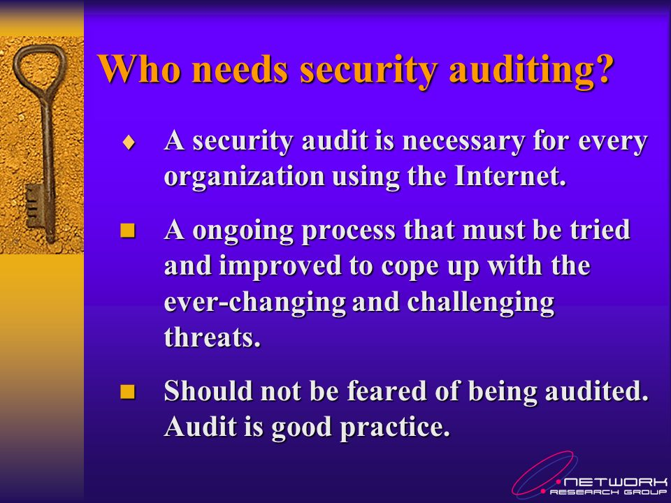 Internal Audit-Penetration For Internal penetration test, it can divided to few categories Network Network Perimeter devices Perimeter devices Servers and OS Servers and OS Application and services Application and services Monitor and response Monitor and response Find vulnerabilities and malpractice in each category Cross check with security policy