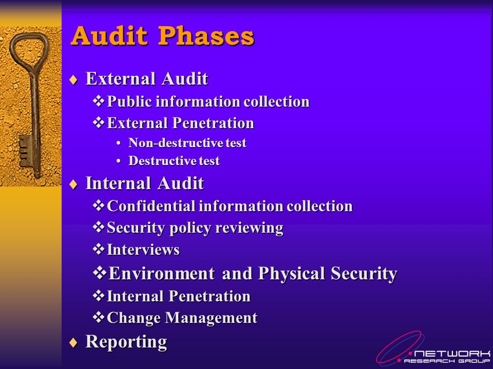 Audit Phases External Audit External Audit Public information collection Public information collection External Penetration External Penetration Non-destructive testNon-destructive test Destructive testDestructive test Internal Audit Internal Audit Confidential information collection Confidential information collection Security policy reviewing Security policy reviewing Interviews Interviews Environment and Physical Security Environment and Physical Security Internal Penetration Internal Penetration Change Management Change Management Reporting Reporting